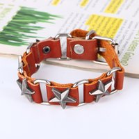 Wholesale metal cross cuff for sale - Charm Bracelet for Women Leather Thick Male Bracelet Metal Cross Rivets Studded Cuff Bangle Single Buckle Belt Bracelet