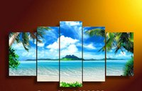 Wholesale Large Framed Oil Painting Canvas - Framed 5 Panel Wall Art Oil Painting On Canvas blue sky and white clouds sea Paintings Pictures Decor painting large living room