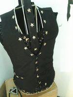 Wholesale Stage Wear Men - Silver Gold Metal pentagram Hip-hop Leather Vest Waistcoat Men's Show Stage Wear Rock Punk Jacket DJ DS Rrivet Jacket Motorcycle clothing