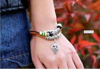 bracelet hibou de style vintage achat en gros de-300 pcs / lot Infinity Bracelets Owl Style Bijoux De Mode En Gros En Cuir Infinity Charme Bracelet Vintage Accessoires Amant Cadeaux
