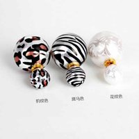 Wholesale Korea White Gold Earrings 14k - New 2016 Elegant Korea Fashion Leopard & Zebra Stripe & Printing Double Side Imitation Pearl Ear Stud Earrings DHE769