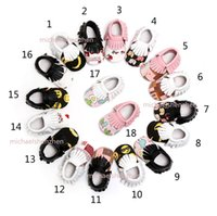 Wholesale Newborn Soft Shoes - Baby Emoji INS moccasins soft sole PU leather shoes 18 Color baby newborn dot bowknot texture shoes maccasions first walker shoes B001