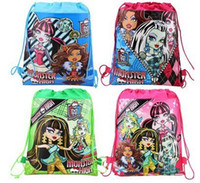 Wholesale Girls Side Bags - Wholesale-2 pcs ghost girl monster high double-sided printing non-woven shoulder bag beam port Drawstring bags pencil bags