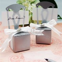 Wholesale Silver Chair Wedding Favor - Free Shipping 50PCS Wedding Faovrs Miniature Chair Favor Box with Heart Charm, Ribbon&Paper card Anniversary Reception Boxes Supplies
