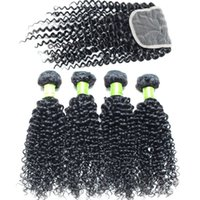 Wholesale very curly hair - Cheap Indian Hair Bundles Indian curly With Closure Very Thick End No Tangle Indian Natural Wave 8-30 Inch Curly Kinky With Clouser