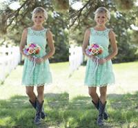 nane yeşil elbise junior toptan satış-Ucuz Ülke Stil Nane Yeşil Gelinlik Modelleri Kısa Dantel Örgün Elbise Genç Ve Yetişkin Nedime Diz Boyu Düğün Elbiseleri