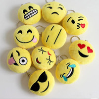 smiley coins Canada - 100pcs2016 New Keychains 6cm Emoji Smiley Small pendant Emotion Yellow QQ Expression Stuffed Plush doll toy bag pendant for Christmas gift