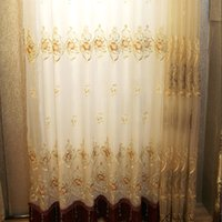 Wholesale Curtain Rose - Pastoral Style Embroidered Curtains Exquisite Embroidery Living Room Curtain Rose Flower Pattern Window Shades Wholesale Per Meter #Gauze