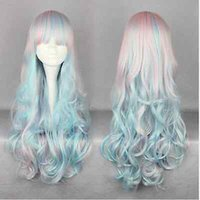 Wholesale Anime Girl Pink Curly Hair - Women Fashion Lolita Girl Long Pink Curly Wavy Hair Cosplay Party Anime Full Wig & Free Shipping