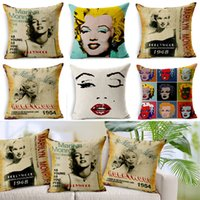 ingrosso copertine di cuscino di novità-Novità regalo federe sexy stella Marilyn Monroe ritratto modello cuscino lino casa auto decorativo tiro federa