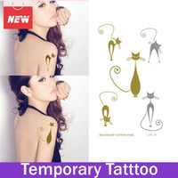 Wholesale Tattoo Legs Cat - 1 Sheet Cat Flash Gold Stamping Temporary Flash Tattoos Stickers Female Designs Bijoux Cat Metalic Tattoo