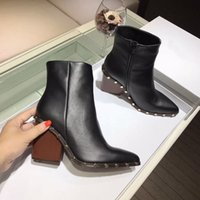 Wholesale Wedge Studded - Wedges Boots for women Hoof heels Fashion Brand Designer New Rivets Studded Combat Boots Female