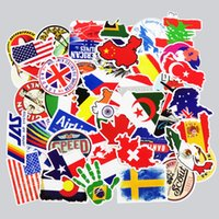 Wholesale National Cars - 50 Pcs National Flags & Map Airline Logo Travel Luggage Stickers For Skateboard Laptop Toy DIY Sticker Car Bike Waterproof Decal