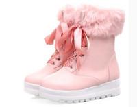 botas de invierno japonesas al por mayor-Botas gruesas dulces de invierno de encaje tamaño japonés Botas de felpa