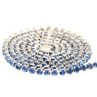Wholesale Crystal Pointed Back Rhinestones - Light Sapphire Glass Rhinestones Silver Base Chains Copper Cup Chain Pointed Back Sew On Glue On Crystal Diamonds DIY Phone Case