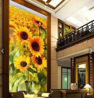 mural paper rolls Australia - 3d sunflower floral wallpaper murals for living room home art wall hallway mural home art decor 3d wall paper roll entrance
