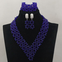 Wholesale Green Orange Statement Necklace - 2017 hot!! royal blue 18k necklace pendant earring set Statement Bridesmaids heart crystal sets mix Fashion hip wedding jewelry for gift G01