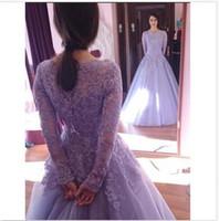 Wholesale Long Sleeve Evening Dresses Online - 2018 Lavender A Line Evening Dresses Applique Lace Tulle Scoop Long Sleeves Floor Length Formal Prom Gowns Online Sale
