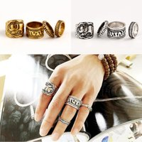 4pcs / Set Vintage Punk Ring Set Unique Carved Antique Silver Elefante Totem Leaf Lucky Rings para mulheres Boho Beach Jewelry B998S