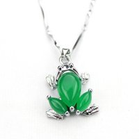 Wholesale Chinese Silver Necklaces - Chinese AAA Tibet Silver Green Jade Frog Malay jade pendant Necklace & Pendants pendent