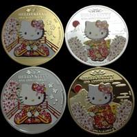 olá kitties prata venda por atacado-10 pcs o hello kitty moeda animal gato japão crachá tema dos desenhos animados 24 k real de prata banhado a ouro 1 oz 40 mm lembrança de metal moeda collectible