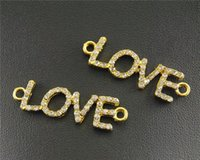 Wholesale Gold Rhinestone Love Connectors - 10 pcs Gold Rhinestone LOVE Connector DIY Metal Bracelet Necklace Jewelry Findings RS097