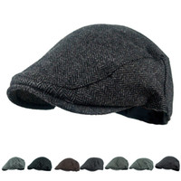 Wholesale Wool Beret Black - 2018 Hot Sale Men's Hat Wool Stripe Berets Fashion Casual Autumn Driving Flat Cabbie Newsboy Visor Sun Beret Cap For Male