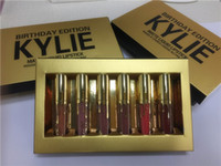Wholesale Red Cosmetics - Factory Direct Hot Kylie Jenner Cosmetics Matte Liquid Lipstick Mini Kit Lip Birthday Edition Limited With the Golden Box 6pcs set Lip Gloss