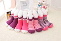 Wholesale Girls Socks Years Old - 4pair Baby cotton spring thinner socks Wool socks Boys and girls warm socks 1set=4 pairs 0-3 years old Children's Christmas stockings