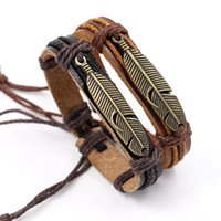 Wholesale infinity couple bracelet for sale - Fashion Metal Feather Charm Bracelets Handmade Weave rope Brown Leather Bracelets Infinity bracelets Vintage Couples Bracelet Wristband