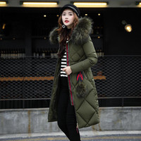 Wholesale Long Black Coat Feathers - Women Down Coats 2017 Fashion Winter Female High Quality Long Warm Coat Female Thicken Solid Parka Hooded Jacket Plus Size