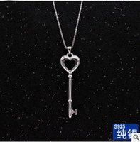 Wholesale Usa Polishes - S925 sterling silver key pendant high quality fashion jewellery polished key necklace real rhodium plated USA style free shipping
