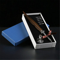Wholesale antique pens - Honorable and graceful Antique Quill Feather Dip Pen Writing Ink Set Stationery Gift Box Top Quality Fountain Pen For autograph