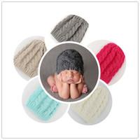 Wholesale Bonnet Crochet - Newborn Knit Beanie Hats Baby Boy Girls Wool Crochet Caps Toddler Kid Cotton Wraps Infant Unisex Hair Accessories Photography Bonnet
