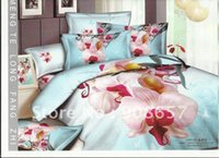 Brand New Discount Literie Full / Covers Reine couette coton Consolateur Sets 4Pc Light Blue Linge de lit en rose Orchid Motif Fleurs