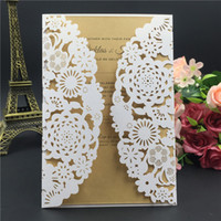 Wholesale Chinese Wedding Red Envelopes - 2016 New Free Shipping laser cut wedding invitation card with envelope,blank inside card wedding favors party supply