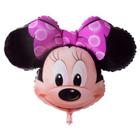 Wholesale Inflatable Head Balloon - Best Quality Minnie Mouse Head Foil Balloon Kids MIckey Ballons Happy Birthday Globos Party Decoration Baby Shower Balao Ball