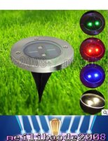 Wholesale Solar Led Road Light - High Quality Solar Waterproof Underground Lamp Round Outdoor Decking 2 Pieces LED Lights For Garden Road Decoration LLFA