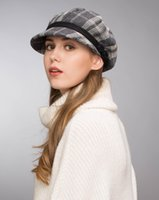 Wholesale Ladies Wool Church Hat - Stand Focus Women Cabby Baker Boy Gatsby Hat Newsboy Cap Ladies Fashion Wool Tweed Check Plaid Tartan Fall Winter Gray Crochet Special