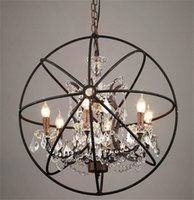 Wholesale Rustic Hardware - Country Hardware Vintage Orb Crystal Chandelier Lighting RH Rustic Iron Candle Chandeliers Light Globe LED Pendant Lamp Home Decoration