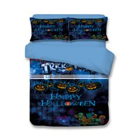 Wholesale boys full size bedding online - 2017 Halloween Horror Pumpkin Colorful Skull Teen Boy Bedding Set Twin Full Queen King Size Bedspreads Duvet Cover Bed Comforter Pillow Sham