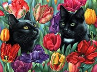 2016 DIY 5D Diamond Painting Cross Stitch Black Cat mosaic Full Diamond Crystal Broderie Handmade Stickers décoration intérieure