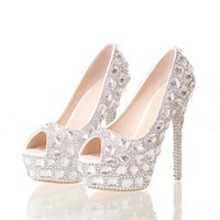 Wholesale peep toe silver prom resale online - Handmade Silver Diamond Wedding Shoes Peep Toe Platforms Rhinestone Prom Party Shoes Super High Heel Stilettos Bridal Shoes