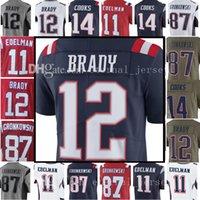 Wholesale Football 14 - 12 Tom Brady 87 Rob Gronkowski Jersey Men's 14 Brandin Cooks 11 Julian Edelman 15 Chris Hogan Jerseys Embroidery and 100% Stitched Adult