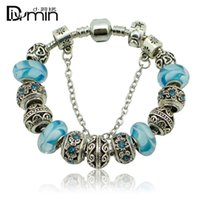 Wholesale Threaded Chain Bracelet - 2016 New 925 Silver plated without Threaded Screw Core Fascinating Faceted Murano big hole Glass Beads Fit Pandora Charm DIY Jewelry