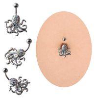 joyas de anillos de pulpo al por mayor-Nueva moda Piercing del ombligo pulpo botón de campana anillos del cuerpo del ombligo Piercing joyería del cuerpo para las mujeres