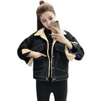 casaco de veludo xl venda por atacado-Casaco De Lã do falso Feminino de Veludo de Algodão Preto Denim Jaqueta Mulheres Inverno Grosso Quente Jeans Casacos Outerwear
