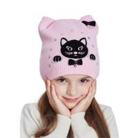Wholesale Girls Winter Hats Cat - LUCKYFUR Cotton Knitted Hat Girl Cute Cartoon Cat Winter Hats For Girls Warm Thick Caps Children Beanies Autumn Kids Ears Hat