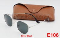 Wholesale Dark Sunglasses Driving - 20pcs Hot Sale Round Sunglasses Eyewear Sun Glasses Designer Brand Silver Metal Black Dark 50mm Glass Lenses For Mens Womens Better Cases