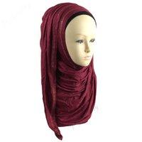 Wholesale Wholesale Cotton Jersey Scarves - Islam Muslim Hijab Jersey Instant Shawl Hijab Slip Onshawls Scarf Plain Cotton Jersey Instant Shawls With Stones phby07